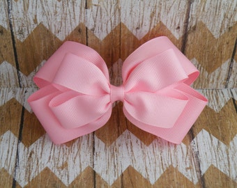 """5""""  Pink Basic Boutique Hair Bow, Pink Bow, Ready to Ship"""