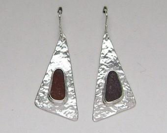 Sea Glass Jewelry - Sterling Brown Sea Glass Earrings