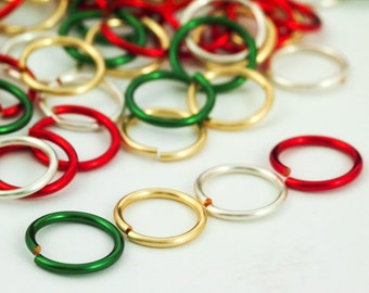 Traditional Christmas Mix - 100 Custom Handmade Jump Rings -Popular Sizes - 100% Guarantee