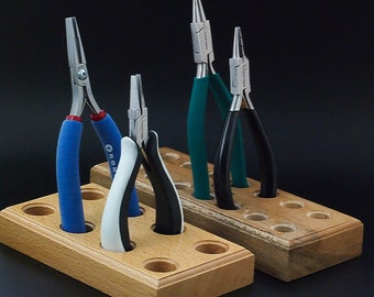 SALE Best Tool Holder - You Pick 3, 4, 6 or 8 Tools - Wooden Blocks for Your Workbench - Free Sample Pack of Jump Rings Included