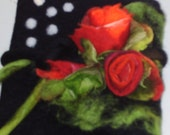 Reserved for Lynn - Journal Notebook Felted Wool  Cover with Red Rose Flowers Bouquet