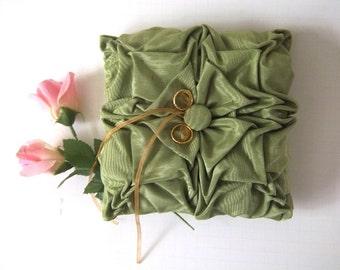 Green  hand smocked  pillow.  Wedding Ring Bearer Pillow