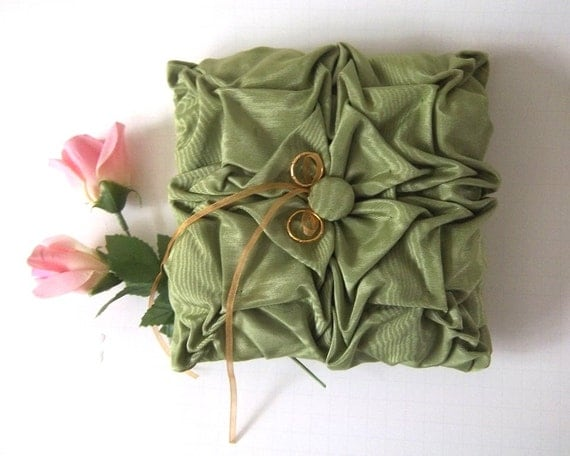 Green  hand smocked  pillow.  Wedding Ring Bearer Pillow