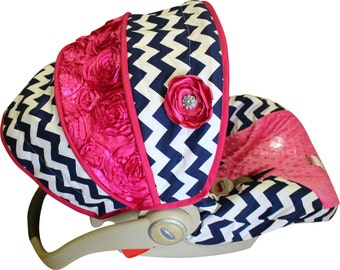 Infant Car Seat Cover Navy Chevron with Rose - Moves to Toddler