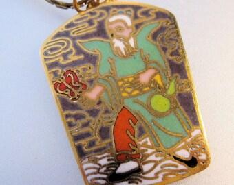 Cloisonne Chinese Man Enamel Pendant Necklace Vintage Jewelry Jewellery