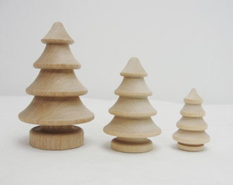 Wooden 3 dimensional turned trees 2 each of 3 sizes