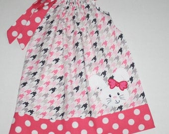 bunny Pillowcase Dress toddler dresses can be personalized monogrammed, pink, gray, black houndstooth,  infant Easter dresses blakeandbailey