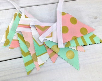 Bunting Banner Mini, Fabric Banner, Fabric Flags, Baby Nursery Decor, Metallic, Glitz, Shimmer - Gold, Pink, White, Mint, Chevron and Dots
