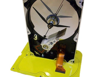 SPECIAL SALE: Yellow Based Computer Hard Drive Clock Accented with Golden Ribbon Cable. Get a Painted Hard Drive Clock, Be Different!