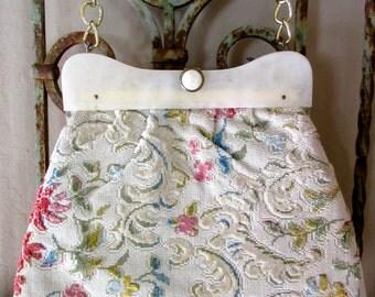 Vintage Velvet Chenille Handbag, Lucite