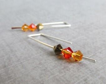 Brown Crystal Earrings, Harvest Earrings, Minimalist Earrings, Brown Earrings, Sterling Silver Modern Earrings