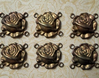 Oxidized Brass Rose Connectors - 13mm x 14mm - 4 Loop Flower Connector