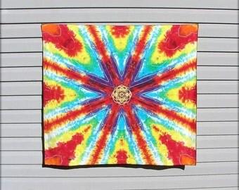 Mandala Tie Dye Tapestry OOAK Rainbow Wall Hanging SALE