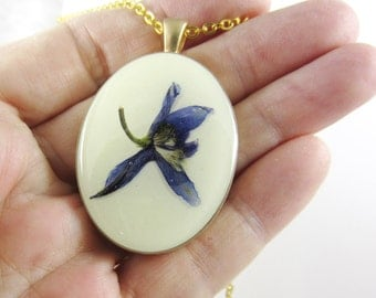 Wild Larkspur on Ivory, Real Flowers on Resin, Pressed Flower Jewelry,(1567)