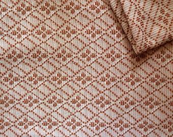 Vintage Fabric 70's Polyester, Pink, Orange, Diamond, Material, Textiles