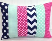 Nursery Pillow Cover, Throw Pillow Cover, Girl Nursery Decor, Magenta Pink, Navy Blue, Seafoam, Mint Green, 12 x 16 Inches