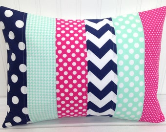 Nursery Pillow Cover, Throw Pillow Cover, Girl Nursery Decor, Magenta Pink, Navy Blue, Seafoam, Mint Green, 12 x 16 Inches