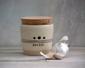 Garlic jar, kitchen garlic canister,  Garlic Keeper , Lidded Jar , Kitchen Storage