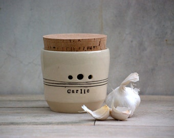 Garlic jar - kitchen garlic canister - Garlic Keeper - Lidded Jar - Kitchen Storage - decorative jar - pottery canister -