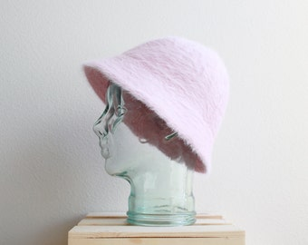 Fuzzy Deadstock Angora Rabbit Wool Bucket Hat in Baby Pink O/S 90's Clueless Rave Kawaii Fluffy Clubwear