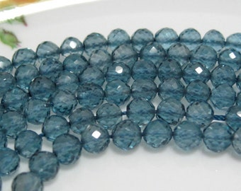 10 Beads Set - Outrangeous Top Quality London Blue TOPAZ Faceted ROUND Rondelle