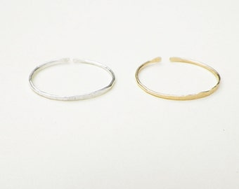 Rustic Dainty Gold and Silver Skinny Stack Ring set, one gold filled and one sterling silver thin delicate adjustable ring