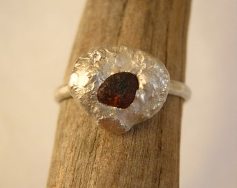 Deep Red Rough Sapphire Pebble Ring Organic - Sterling Silver - Ready to ship in size 8.5