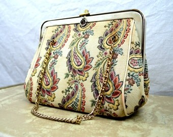 Vintage 1960s Pretty Floral Tapestry Purse