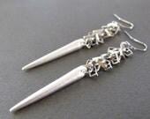 Long Silver Point Earrings, Modern Chain Earrings, Geometric Spike Earrings - CHAINS AND DAGGERS