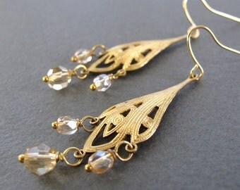 Gold Dangle Earrings, Brass Chandelier Earrings, Crystal Nouveau Filigree - MERCURY