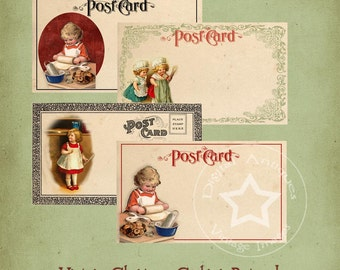 Vintage Christmas Cooking Post Cards Digital Download