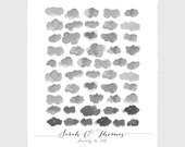 Wedding Guest Book Tree Alternative art Print - Watercolor Happy Clouds - 50 Guest sign ons - wedding guest book sign art print