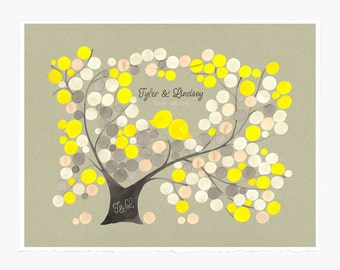 Rustic Anniversary Guest Book Alternative print - Personalized Wedding Tree Love Birds art Poster - Another Spring Love