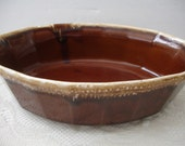 McCoy Bowl Brown Drip - Serving Oblong Bowl - 7071 - Oven Proof - Shabby Cottage