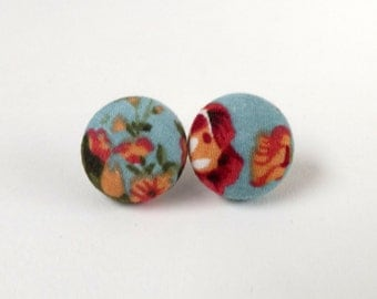 Leafy Rose Print Blue Floral Button Earrings