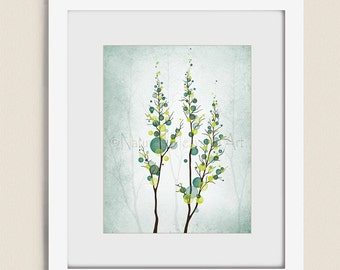 11 x 14 Home Decor Yellow and Green Tree Wall Art Nature Print, Teal Wall Decor, Living Room Decor (18)