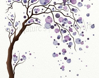 Love Bird Purple Watercolor Tree Art 11 x 14 Print, Abstract Nature Inspired Wall Art, Modern Home Décor (119)