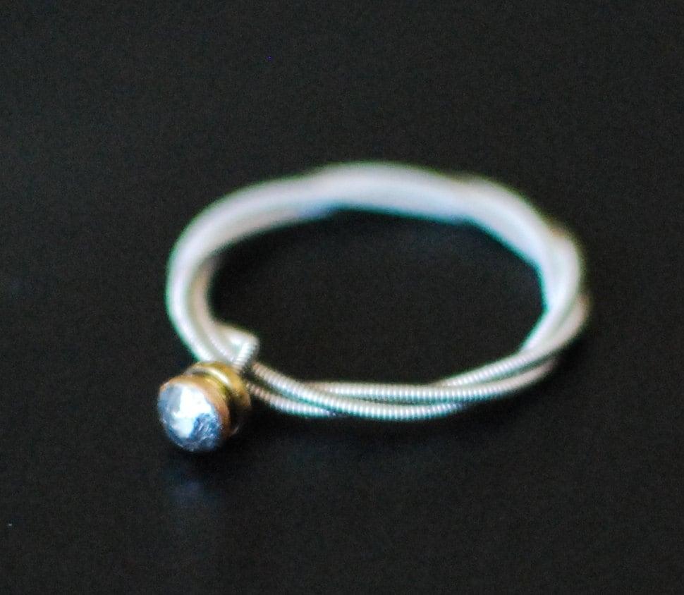 guitar string ring engagement style triple wrap silver. Black Bedroom Furniture Sets. Home Design Ideas