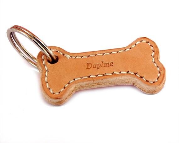 Custom Leather Dog Tag, Handmade Dog Name Tag, Bone Dog Tag