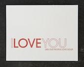 like old people love soup. letterpress card. #454