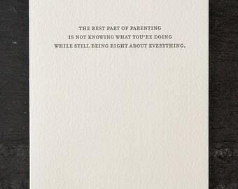 parenting. letterpress card. #778