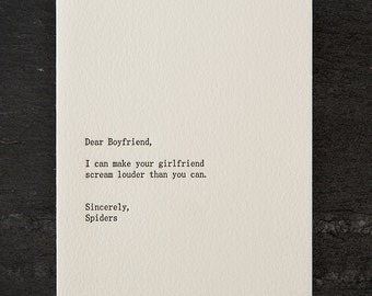 boyfriend/spiders. letterpress card. #256