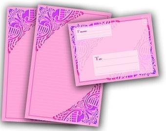 Printable Stationery Digital Download - Celtic Birds in Pink Stationery and Envelope Set