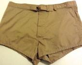 Vintage 1970 Men's US Navy SWIM TRUNKS, Shorts. Let's go surfin.  Swimsuit.  Size 38.  Unicor Swimmers