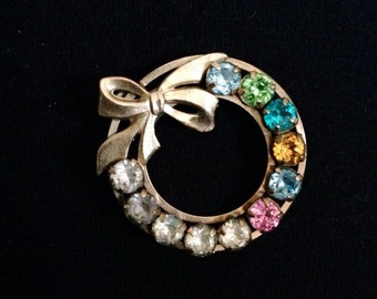 Vintage Gold Filled Colored Stone Wreath Gold Brooch