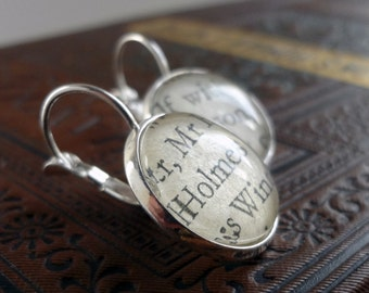 Sherlock Earrings, Fandom Earrings, Sherlock Holmes, Holmes and Watson Earrings, Literature Gift, Book Lover Gift Idea, Bookish Earrings