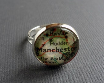 Personalised Ring, Silver Adjustable Ring, Customised Ring, Travel Gift Idea, Girlfriend Gift