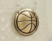 Basketball necklace, personalized, custom bronze necklace