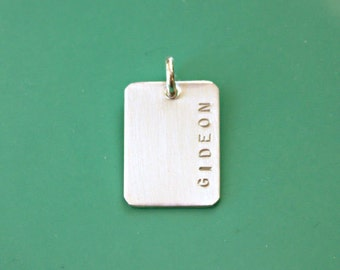 Additional Sterling Silver Rectangle - Add On to Necklace - hand stamped rectangle - tagyoureitjewelry - name jewelry