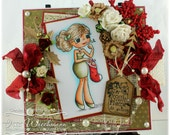 Stocking - OOAK Handmade Christmas Card - Whimsy Stamps